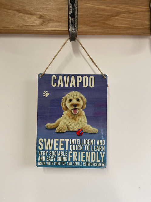 Dog Metal Sign Cavapoo Quirky Retro Gift for Dog Lovers
