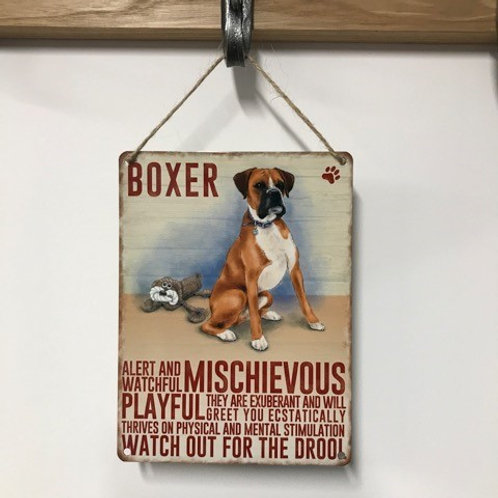 Dog Metal Sign Boxer Quirky Retro Gift for Dog Lovers