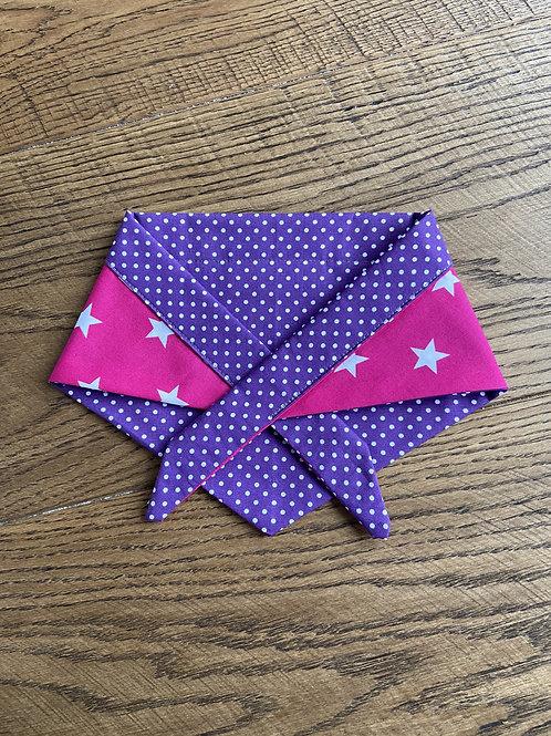 Bandana - Polka Dots & Stars Purple & Pink