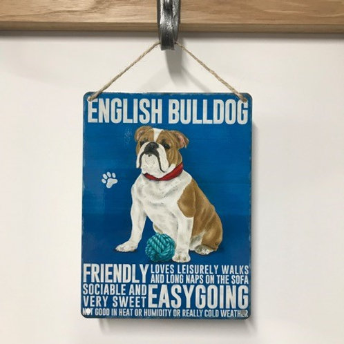 Dog Metal Sign English Bulldog Quirky Retro Gift for Dog Lovers