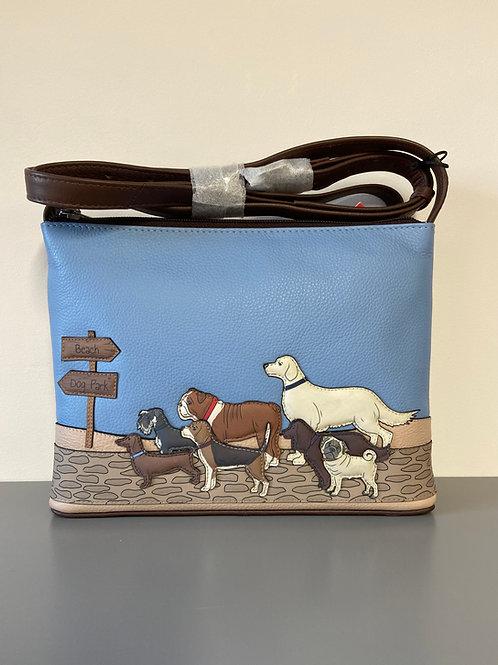 Yoshi Handmade Brown Leather Cross Body Handbag with adjustable strap.