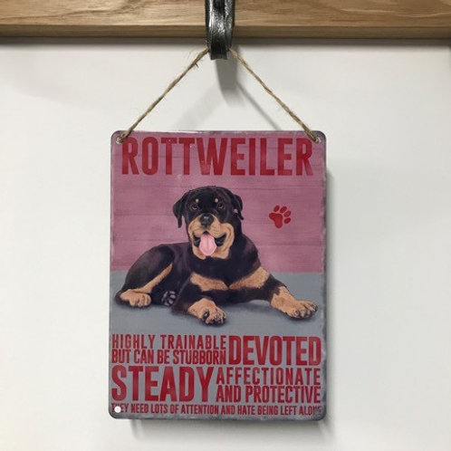 Dog Metal Sign Rottweiler Quirky Retro Gift for Dog Lovers
