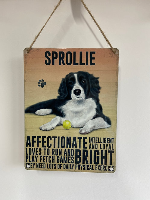 Dog Metal Sign Sprollie Quirky Retro Gift for Dog Lovers