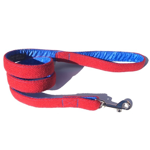 Vatersay BlossomCo Dog Lead Harris Tweed Red with Blue Lining