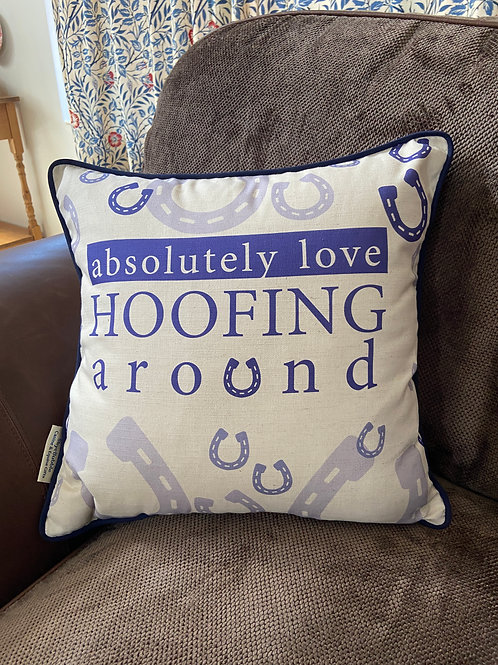 Horse Print Cushion Hoofing Around Horse Lover