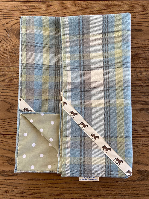 Equine Tartan & Spots Design Handmade Sofa Throw