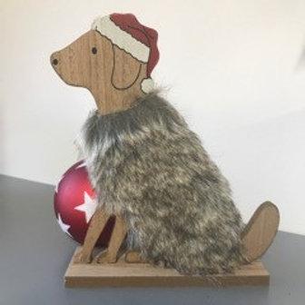 Wooden Furry Dog - sitting