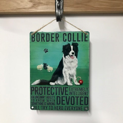 Dog Metal Sign Border Collie Quirky Retro Gift for Dog Lovers