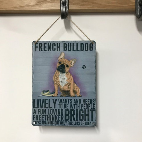 Dog Metal Sign French Bulldog Quirky Retro Gift for Dog Lovers