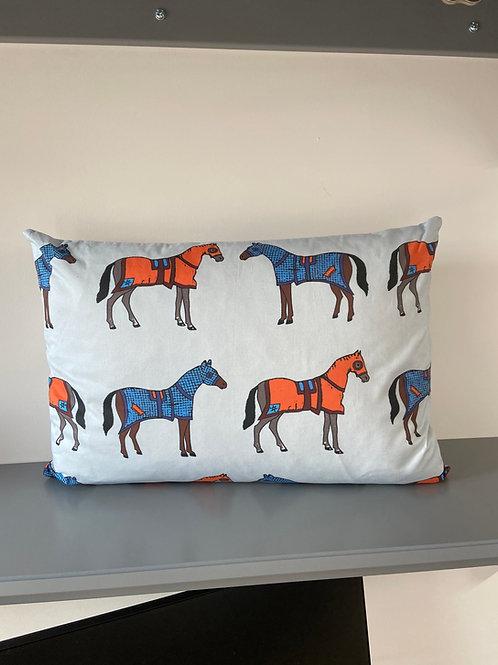 Blinkers & Blankets Horse Racing Cushion