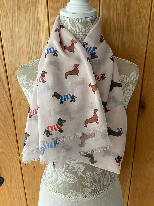 Dachshund Sausage Dog Print Frayed Fashion Scarf