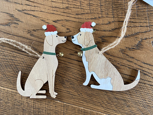 Wooden Christmas Dog Decorations Santa Hats Jingly Bells