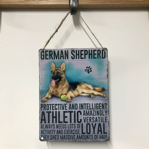 Dog Metal Sign German Shepherd Quirky Retro Gift for Dog Lovers