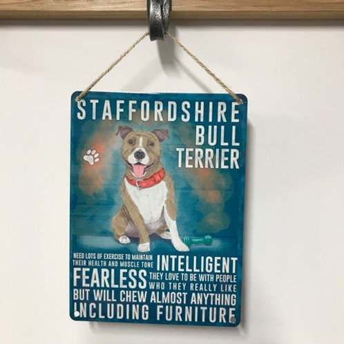 Dog Metal Sign Staffordshire Bull Terrier Quirky Retro Gift for Dog Lovers