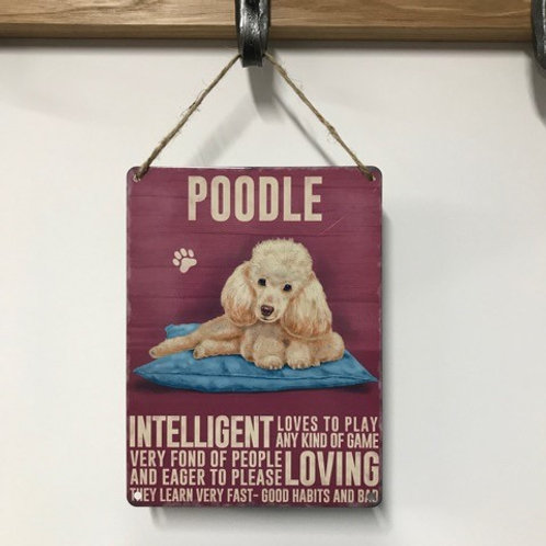 Dog Metal Sign Poodle Apricot Quirky Retro Gift for Dog Lovers