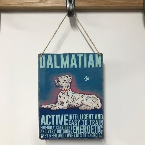 Dog Metal Sign Dalmatian Quirky Retro Gift for Dog Lovers