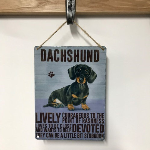 Dog Metal Sign Dachshund Quirky Retro Gift for Dog Lovers