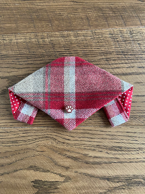 Dog Bandana - Skye Red with Paw Print Trim
