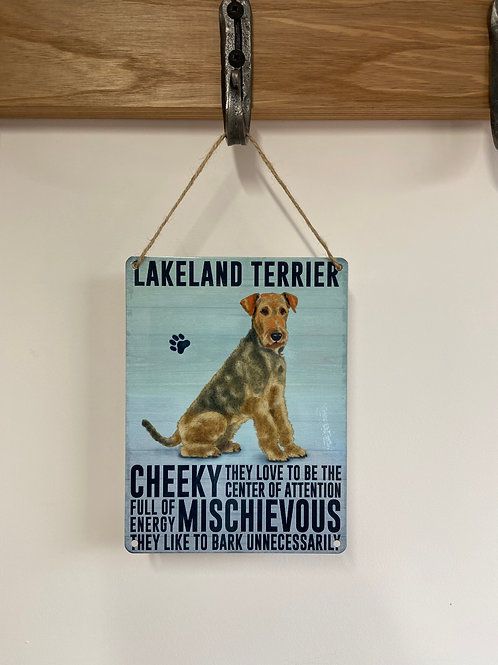 Dog Metal Sign Lakeland Terrier Quirky Retro Gift for Dog Lovers