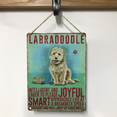 Dog Metal Sign labradoodle Fawn Quirky Retro Gift for Dog Lovers