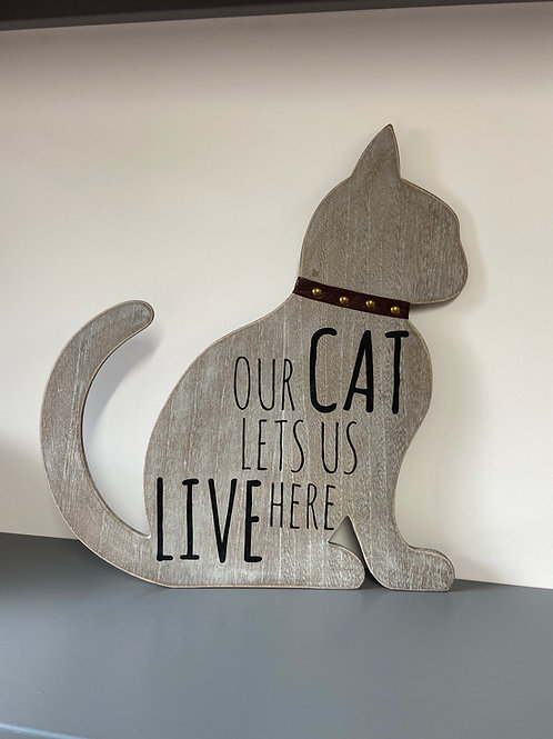 Our Cat Wooden Plaque