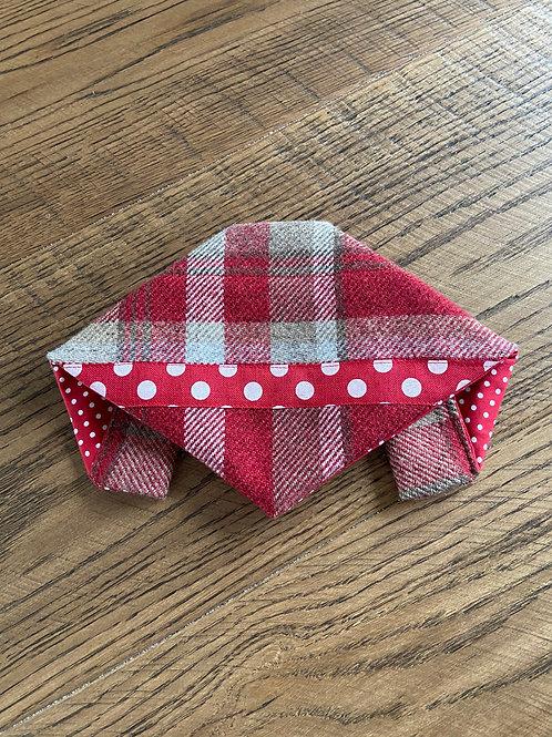 Dog Bandana Handmade - Skye Red with Polka Dot Ribbon Trim