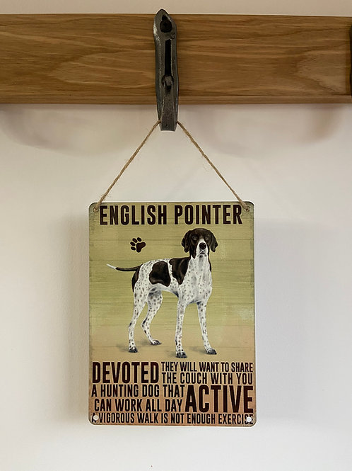 Dog Metal Sign English Pointer Retro Breed Gift for dog lovers