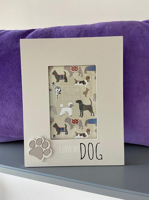 Wooden Dog Print Photo Frame