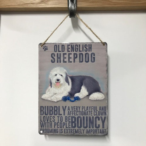 Dog Metal Sign Old English Sheepdog Quirky Retro Gift for Dog Lovers