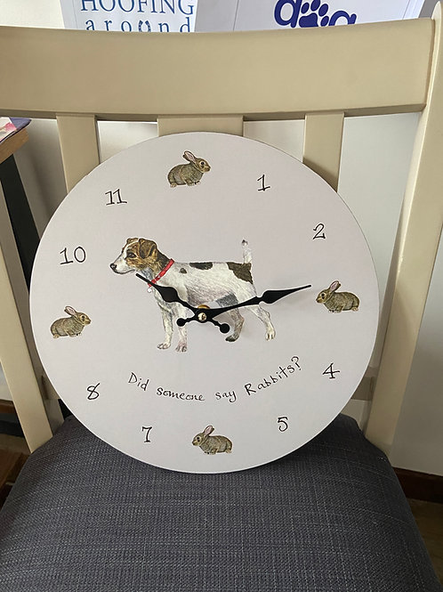 Did someone say rabbits? Dog Wall Clock by At Home in The Country