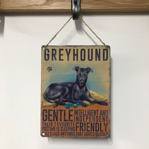 Dog Metal Sign Greyhound Grey Quirky Retro Gift for Dog Lovers