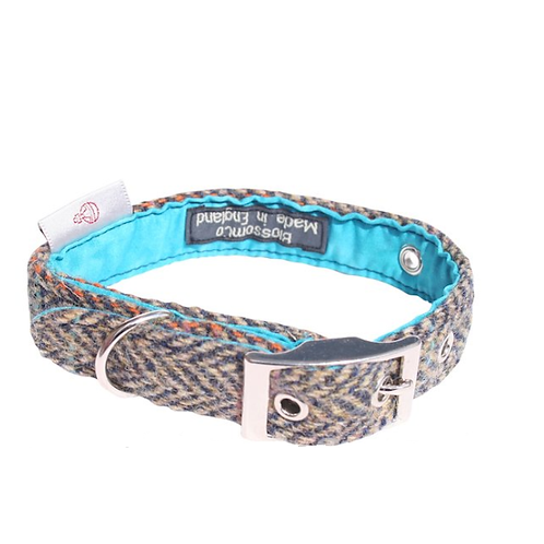 BlossomCo Harris Tweed Dog Collar Barra design perfect gift for a special dog