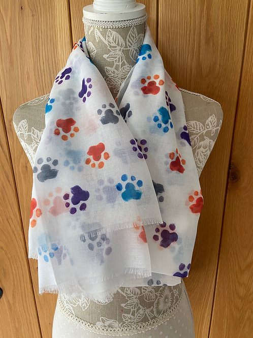 Colourful Paw Print Dog Print Fashion Scarf