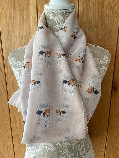 Fox Terrier Dog Print Fashion Scarf