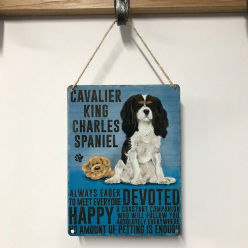 Dog Metal Sign Cavalier King Charles Spaniel Quirky Retro Gift for Dog Lovers