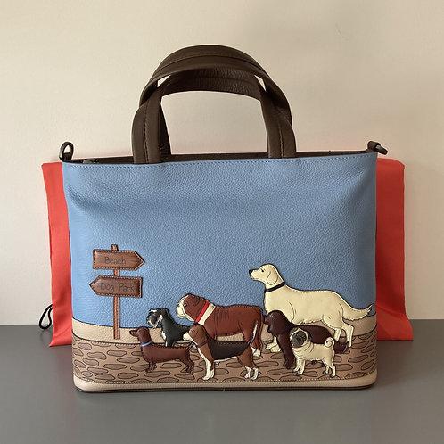 Handmade Yoshi Brown Leather Multi-WayGrab Bag with adjustable shoulder strap.