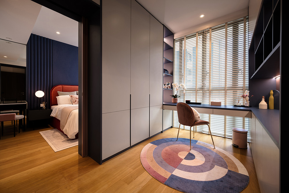mr shopper studio red and blue study toom post modern style decor park place residences
