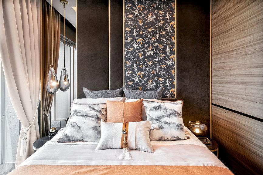 Stars of Kovan master bedroom floral wallpaper water pendant light orange pop of color woodgrain panel walls