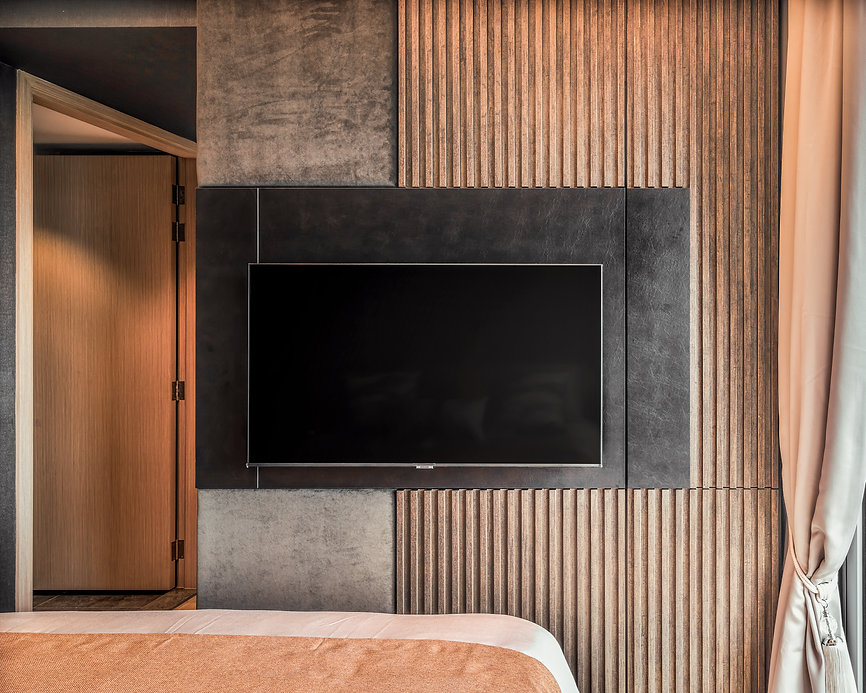 Stars ok Kovan Master Bedroom TV wall feature fluted walnut crushed concrete wallpaper