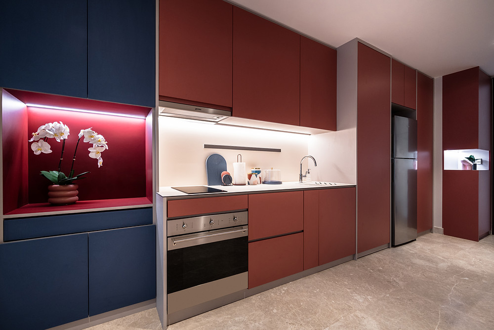 red kitchen streamlined primary colors blue red mr shopper studio park place residences