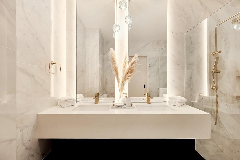 avalon bathroom #bathroomgoals pampas grass gorgeous design inspiration mr shopper studio marble quartz slab surfaces home renovation singapore
