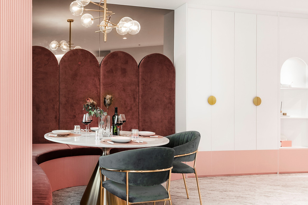 mr shopper studio luxe au pastel tatler feature mid century modern pink dining room vintage inspired