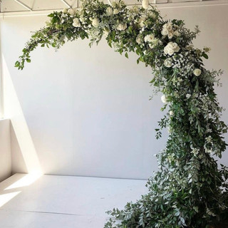 Moon shaped floral arch   Size 2.1m tall & 2.3m wide