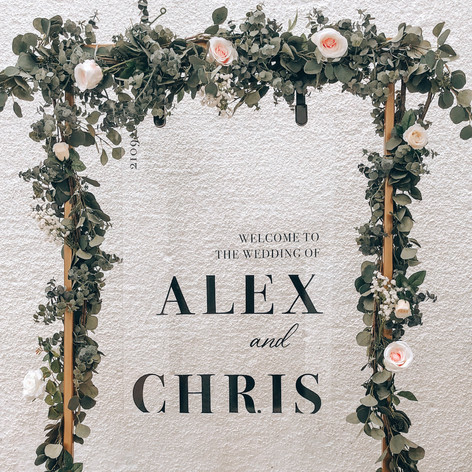 Personalised welcome sign with gold frame and floral