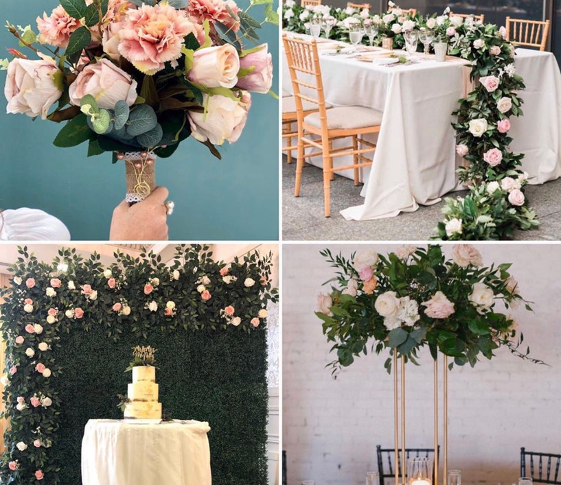The Floral Package What's included:  *Flower wall  *Table centre pieces (x10)  *Floral top table runner  *3 bouquets & 3 buttonholes  All items are designed bepoke to match your theme