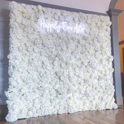 White flower wall with neon signage   Size - 2.5m wide & 2.2m tall
