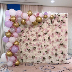 Flower wall with balloon garland   Size 2.7m wide and 2.2m tall