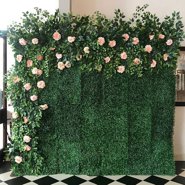 Green flower wall with side & top garland  Size 2.5m wide & 2.2m tall