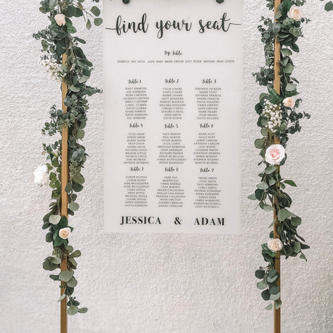 Personalised table plan with gold frame and florals