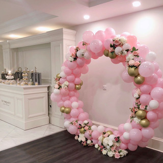 Pink & gold balloon hoop